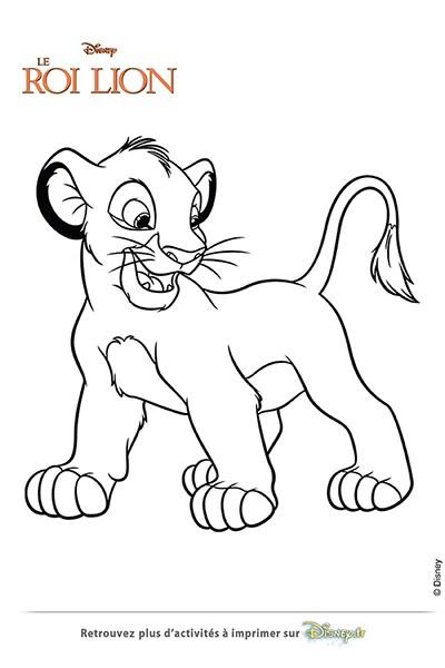 Coloriage simba le lionceau disney coloriages fr - Dessin simba roi lion ...