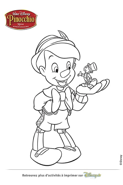 Coloriage pinocchio et jiminy cricket disney coloriages fr - Coloriage pinocchio ...