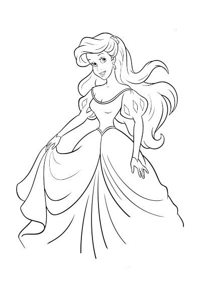 Coloriage Ariel dans sa robe de bal