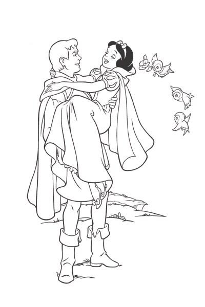 Coloriage Blanche-Neige et le prince