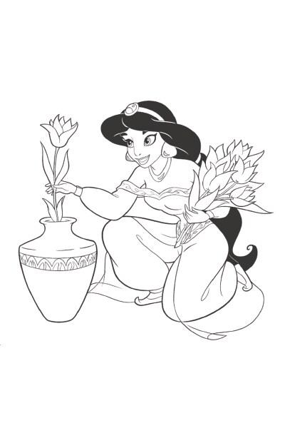 Coloriage Jasmine prépare un bouquet