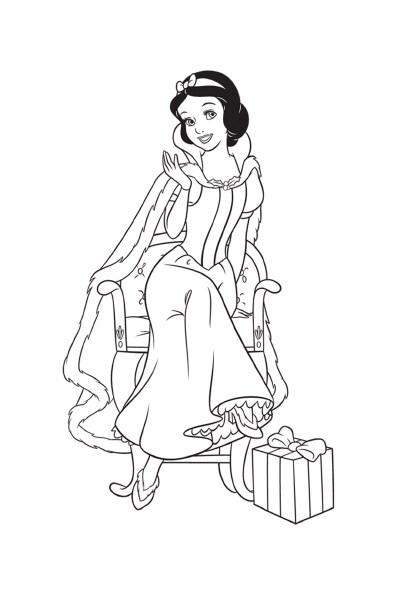 Coloriage Blanche-Neige et son cadeau