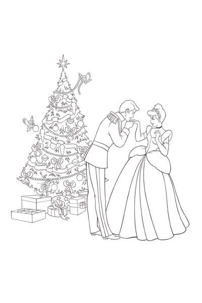 Coloriage Cendrillon et le sapin de Noël