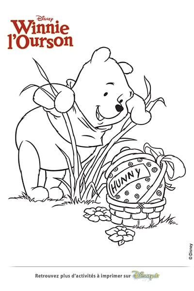 Coloriage Winnie trouve un gros oeuf