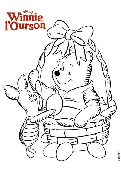 Coloriage Winnie et Porcinet récoltent des œufs de Pâques