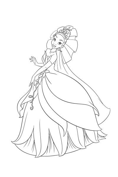 Coloriage Tiana et sa belle robe
