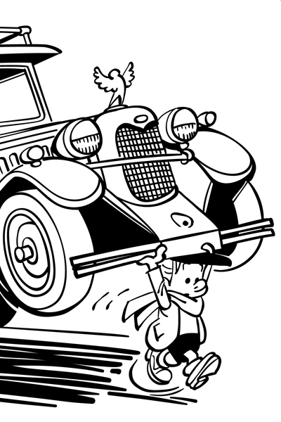 Coloriage Benoît Brisefer en voiture
