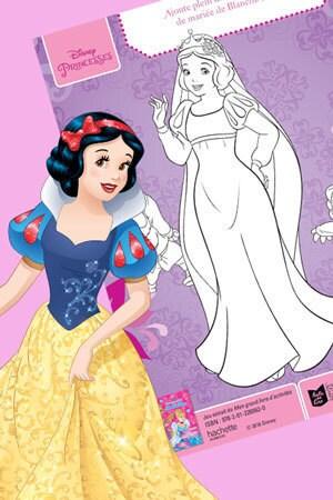 Coloriage La robe de mariée de Blanche-Neige