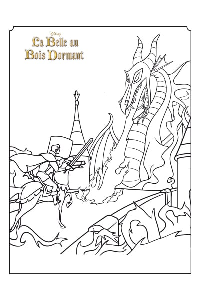 Coloriage Prince contre Dragon