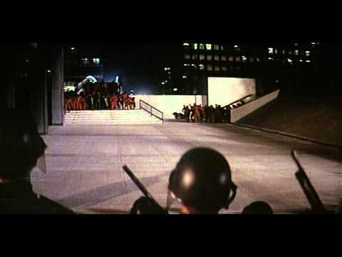 Soldiers creating a blockade in the movie Conquest of the Planet of the Apes