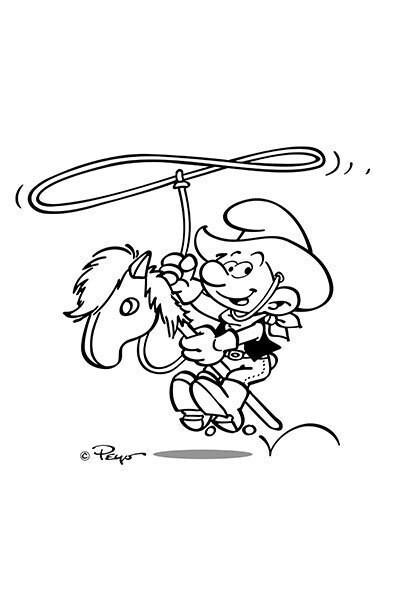 Die Schlümpfe Malvorlage Cowboy