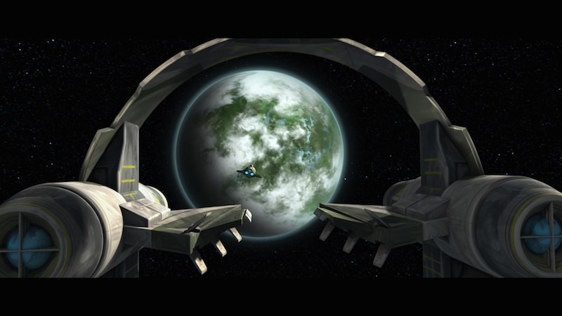 Yoda's Jedi interceptor flying towards Dagobah