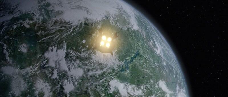 Yoda's escape pod flying to Dagobah