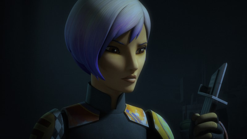 Sabine Wren holding the Darksaber