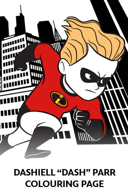 The Incredibles 2 - Colouring Page - Dashiell Parr - Dash