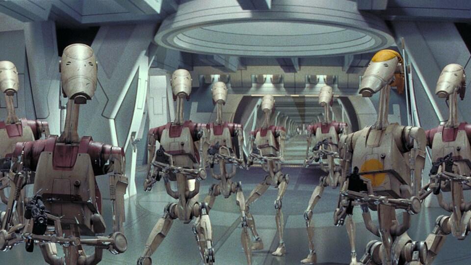 B1 Battle Droids standing around, waiting to die.