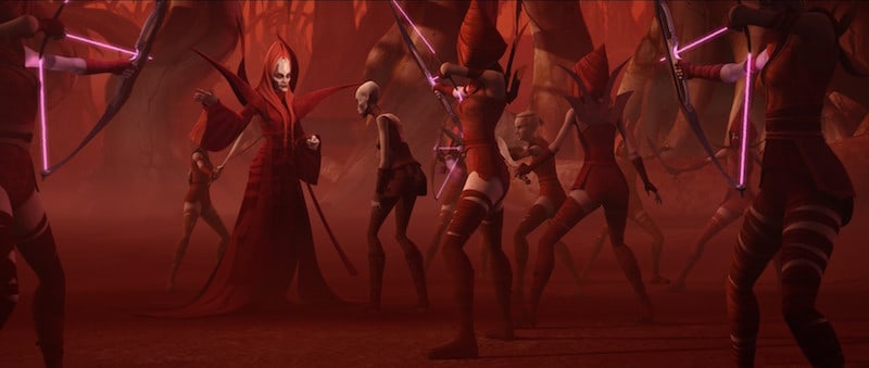 Mother Talzin and the Nightsisters confronting Asajj Ventress