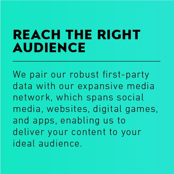 Reach the Right Audience: We pair our robust first-party data with our expansive media network, which spans social media, websites, digital games, and apps, enabling us to deliver your content to your ideal audience.