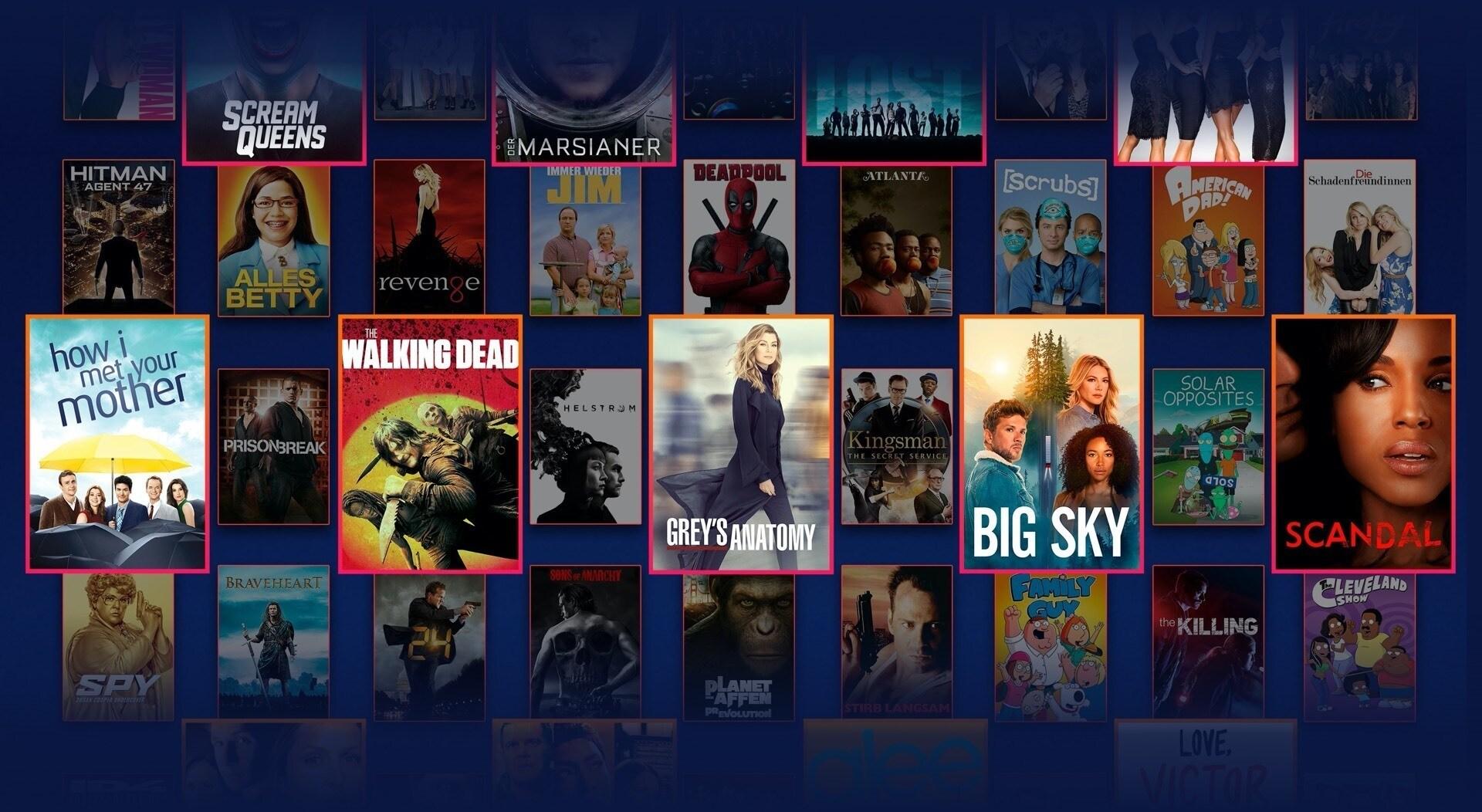 Logos und Artworks einer breiten Auswahl von demnächst auf Disney+ verfügbaren Star Titeln