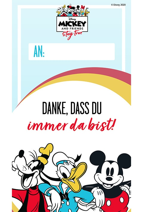 Goofy, Donald und Micky - Danksagungskarte