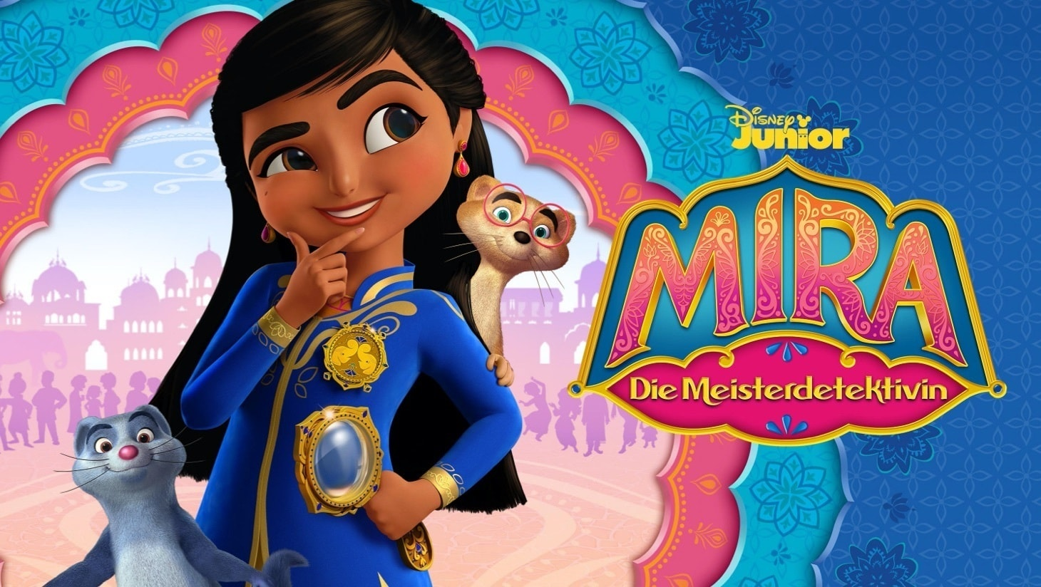 """Mira und die Mungos Mikkuund Chikkuvor einer indischen Stadt, """"Mira –die Meisterdetektivin""""-Logo"""