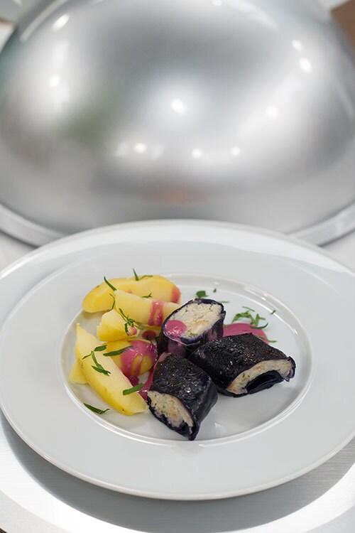 Rotkohlroulade mit Fisch