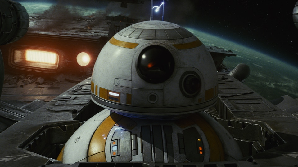 BB-8 poking his head out of a spaceship