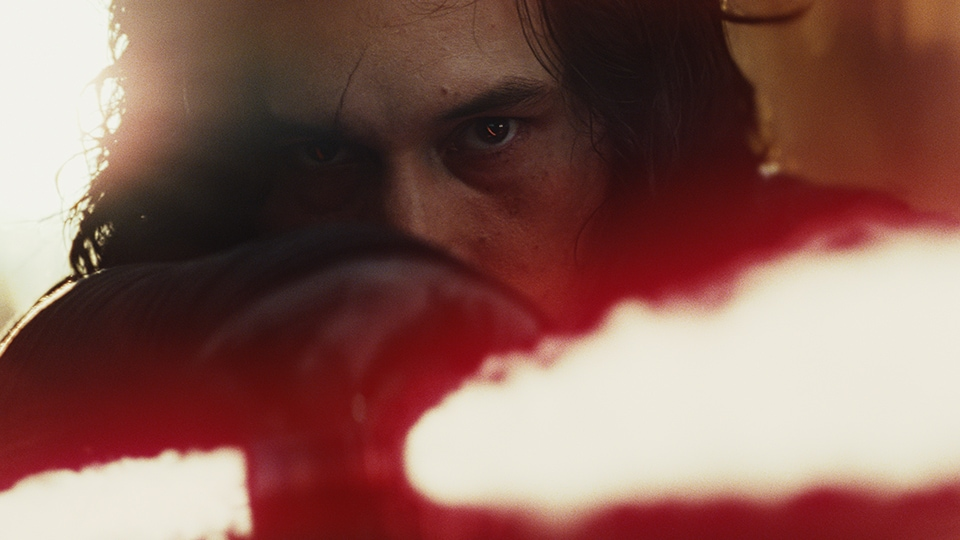 Kylo Ren with a lightsaber