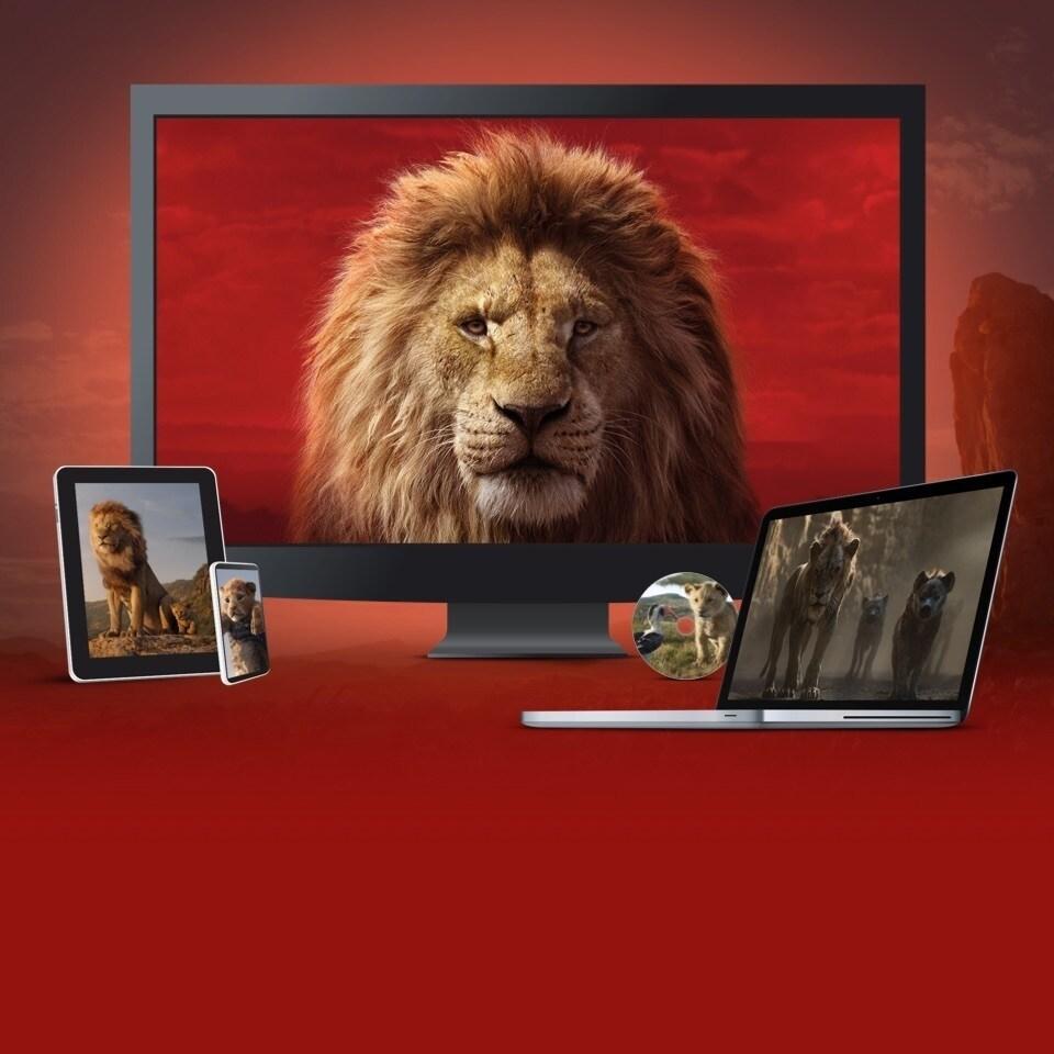 Szenenausschnitt aus Der König der Löwen gezeigt auf einem TV, Laptop, Tablet, Handy und DVD