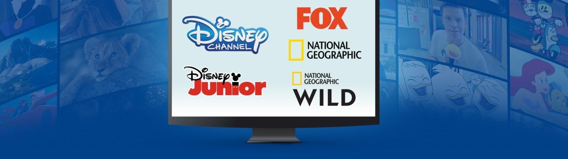 Logos von Disney Channel, Disney Junior, Fox, National Geographic und National Geographic Wild auf einem Bildschirm, Szenen von Disney-Shows im Hintergrund