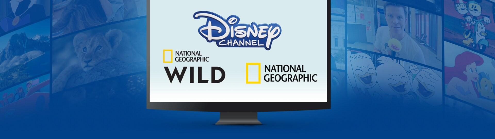 Logos von Disney Channel, National Geographic und National Geographic Wild auf einem Bildschirm, Szenen von Disney-Shows im Hintergrund