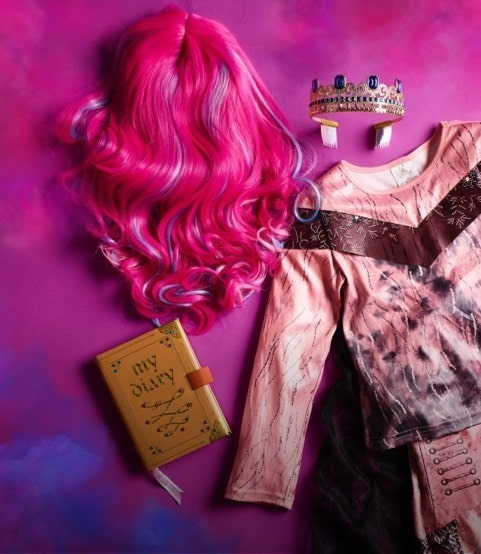 Descendants 3 products against a pink and purple background