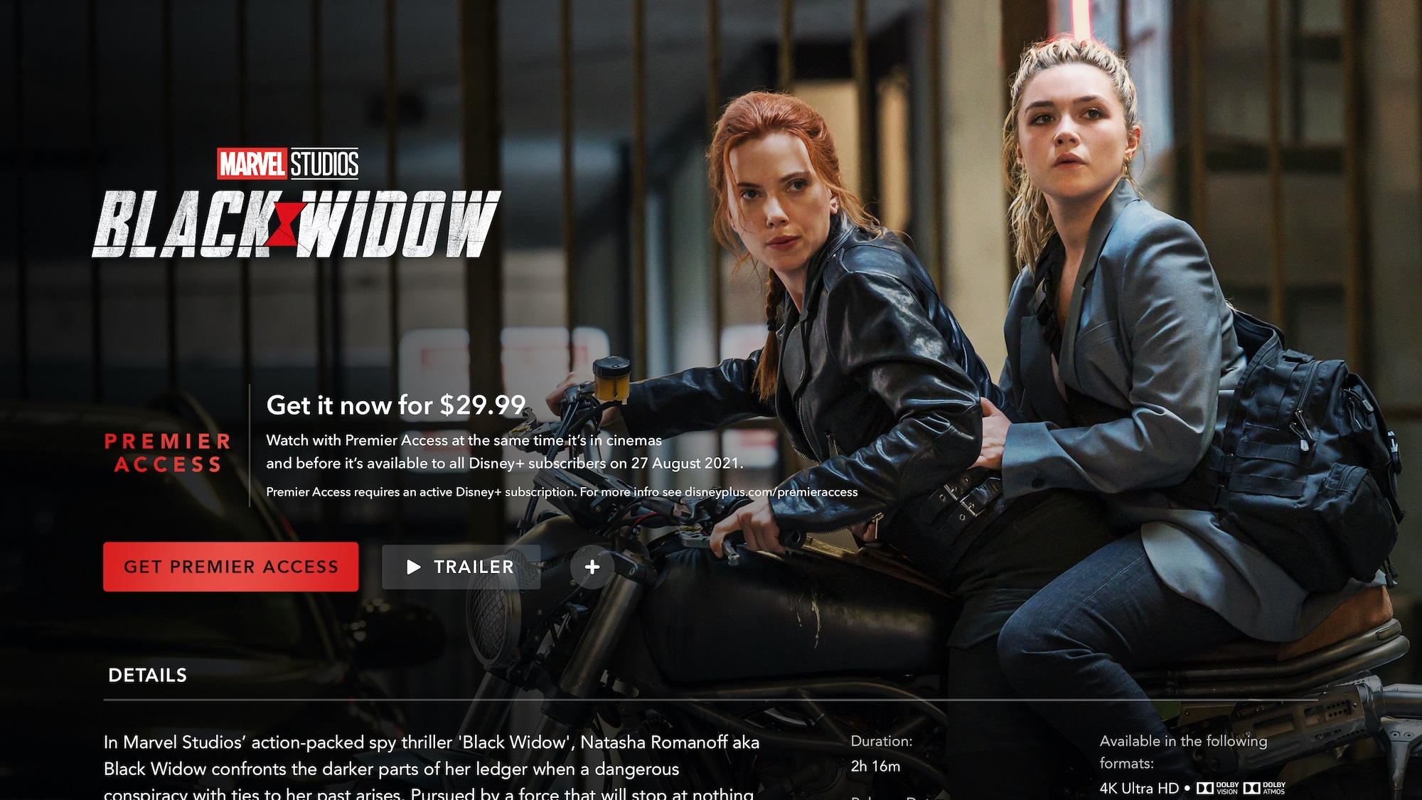 Disney+ Black Widow Premiere Access on Connected TV Device