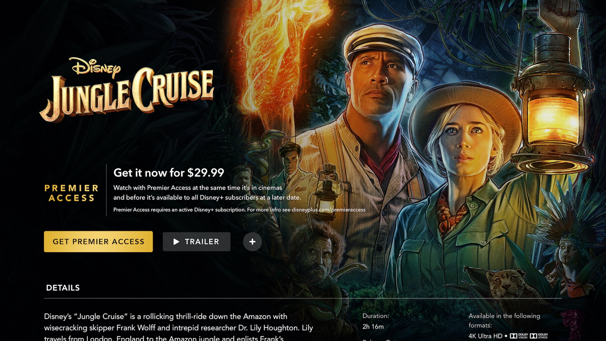 Disney+ Jungle Cruise Premiere Access on Connected TV