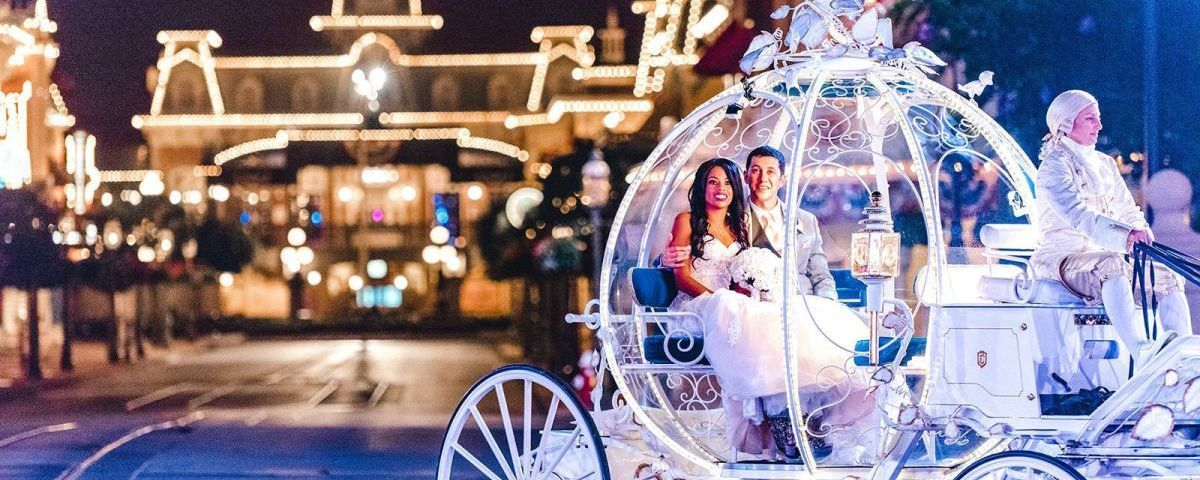 Scene from Disney's Fairy Tale Wedding Season Two - Couple in a stage coach like Cinderella's