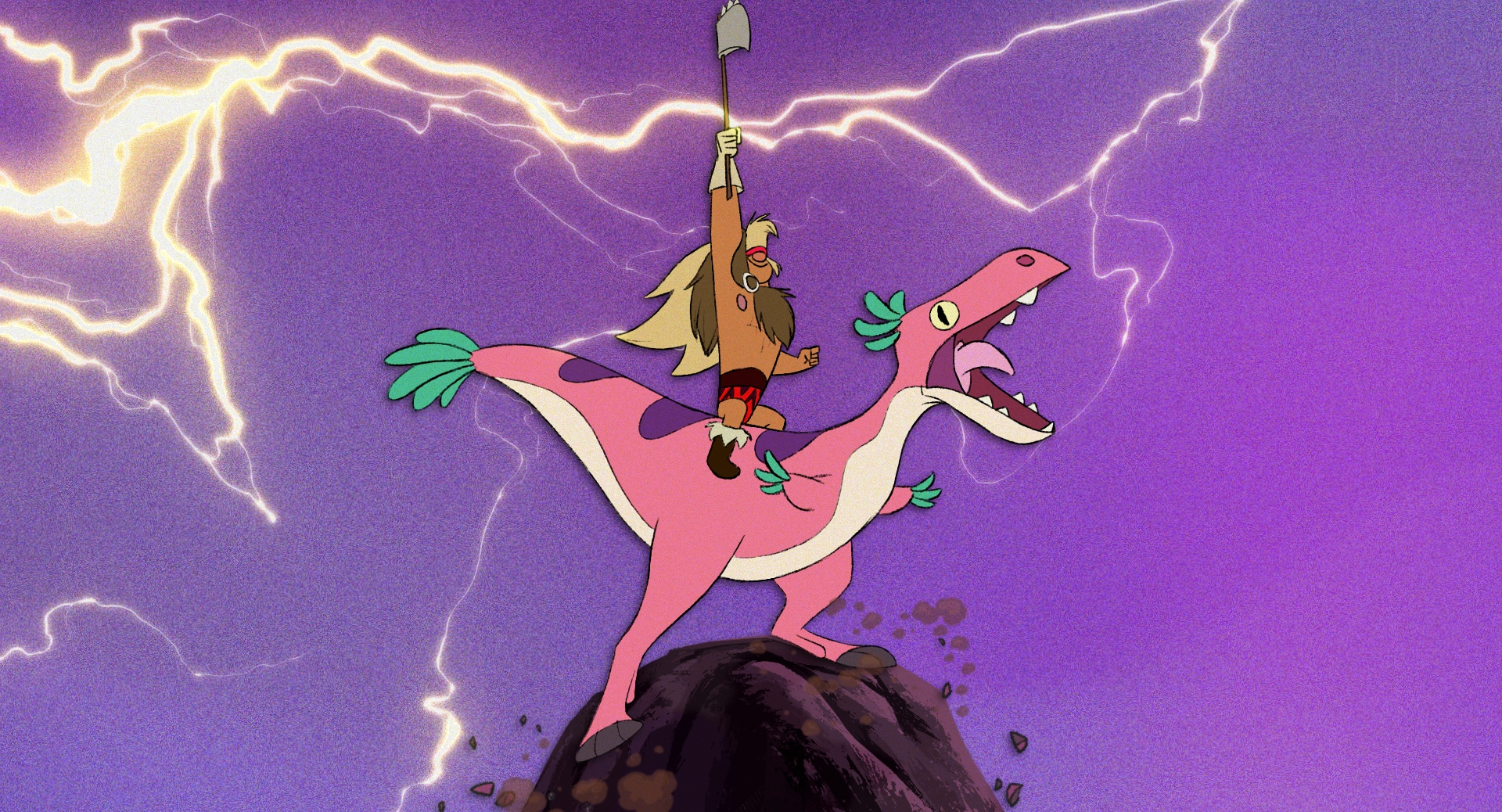 Image from Dinosaur Barbarian with pink dinosaur and barbarian on a hilltop