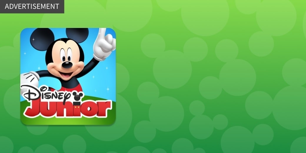 ADVERTISEMENT - The Disney Junior Play App icon with Mickey and the Disney Junior logo on a green background
