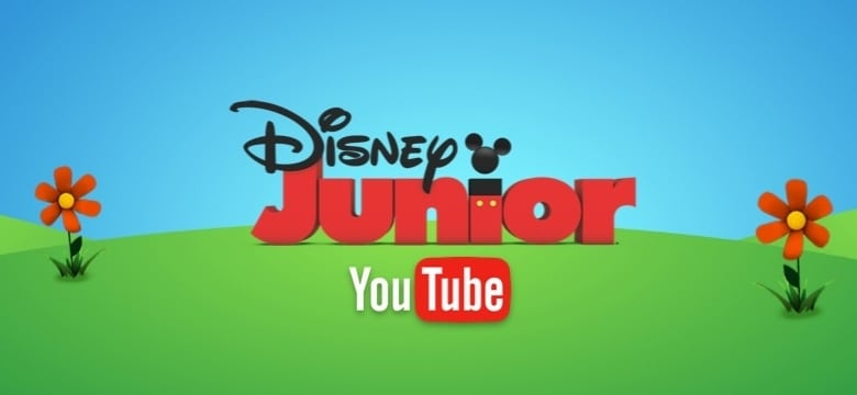 The Disney Junior and the YouTube logos on a green and blue background