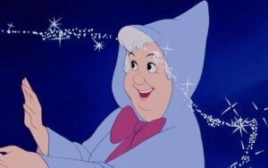 "The Fairy Godmother smiling in the animated movie ""Cinderella"""