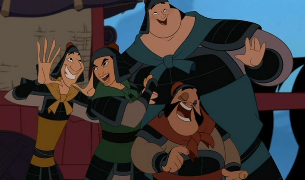"Mulan in disguise amongst the other soldiers in the animated movie ""Mulan"""