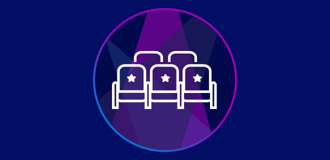 Outline of theatre seats on a spotlight background