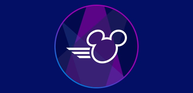 Outline of Mickey's head on the move on a spotlight background