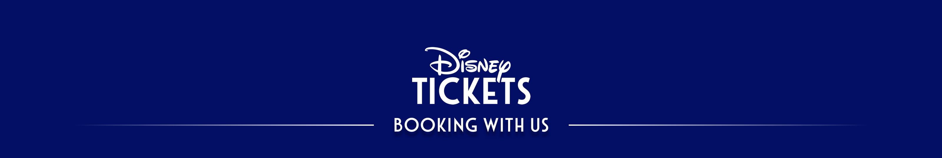 Logo of 'Disney Tickets - Booking With Us' featured on a blue background