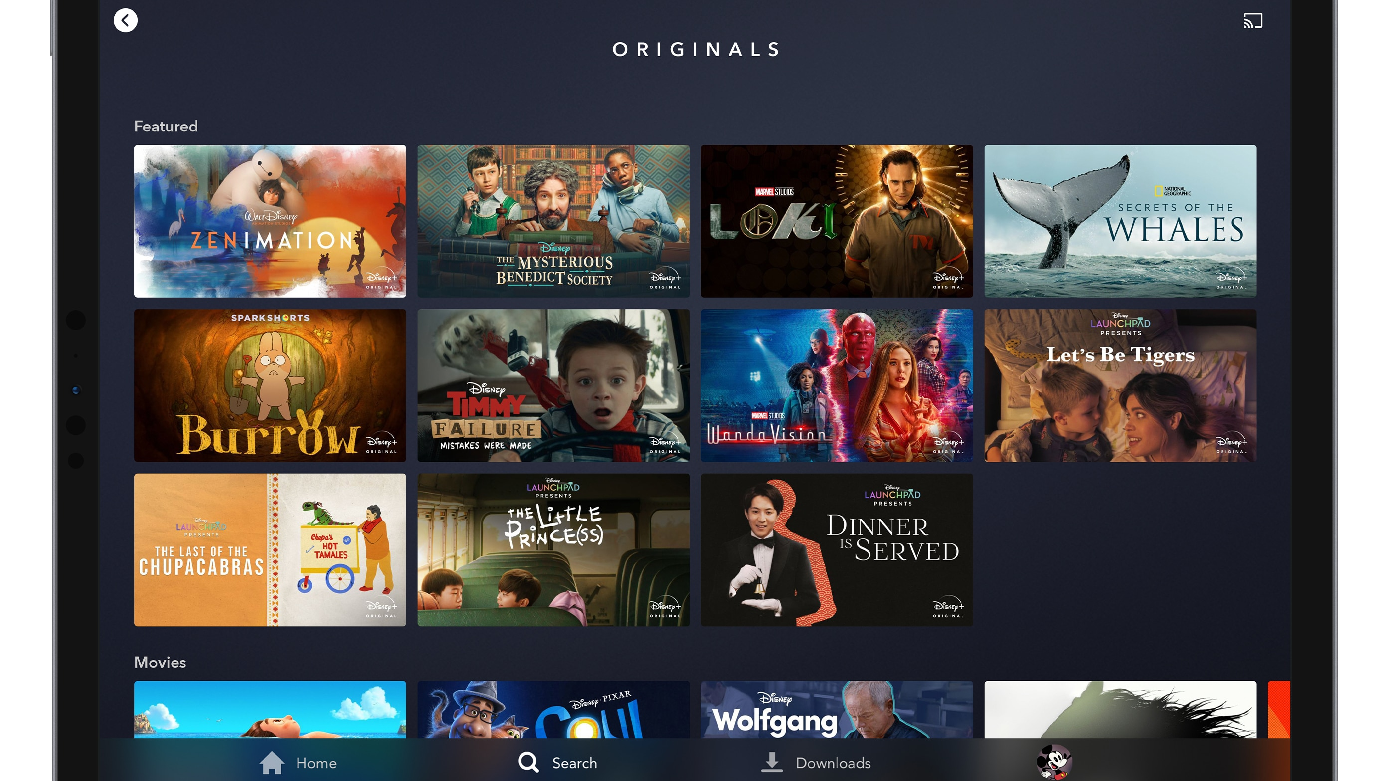 Disney+ Originals Page on Tablet Device