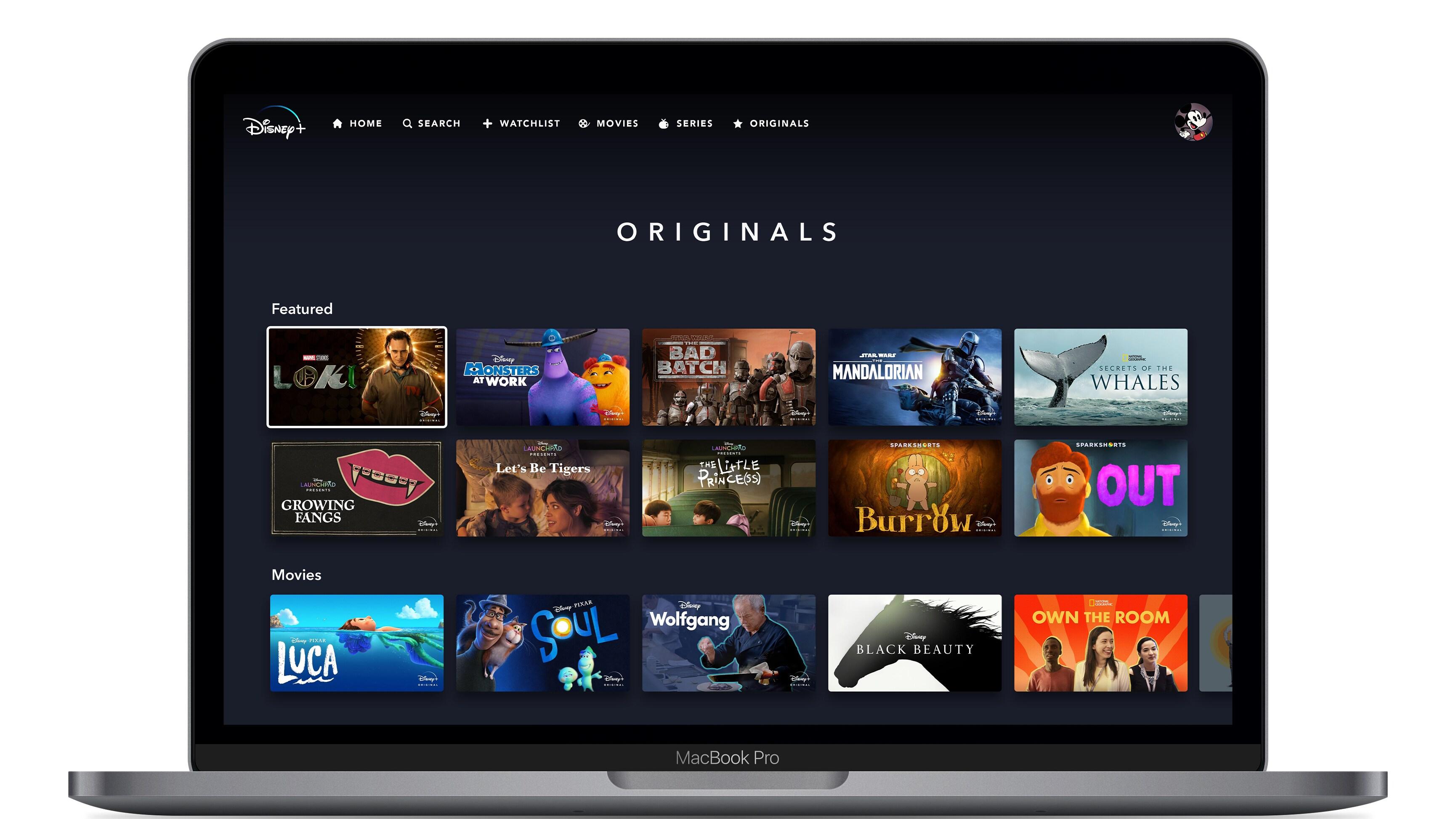 Disney+ Originals Page on Web Device