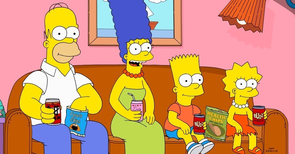 The Simpsons on a sofa