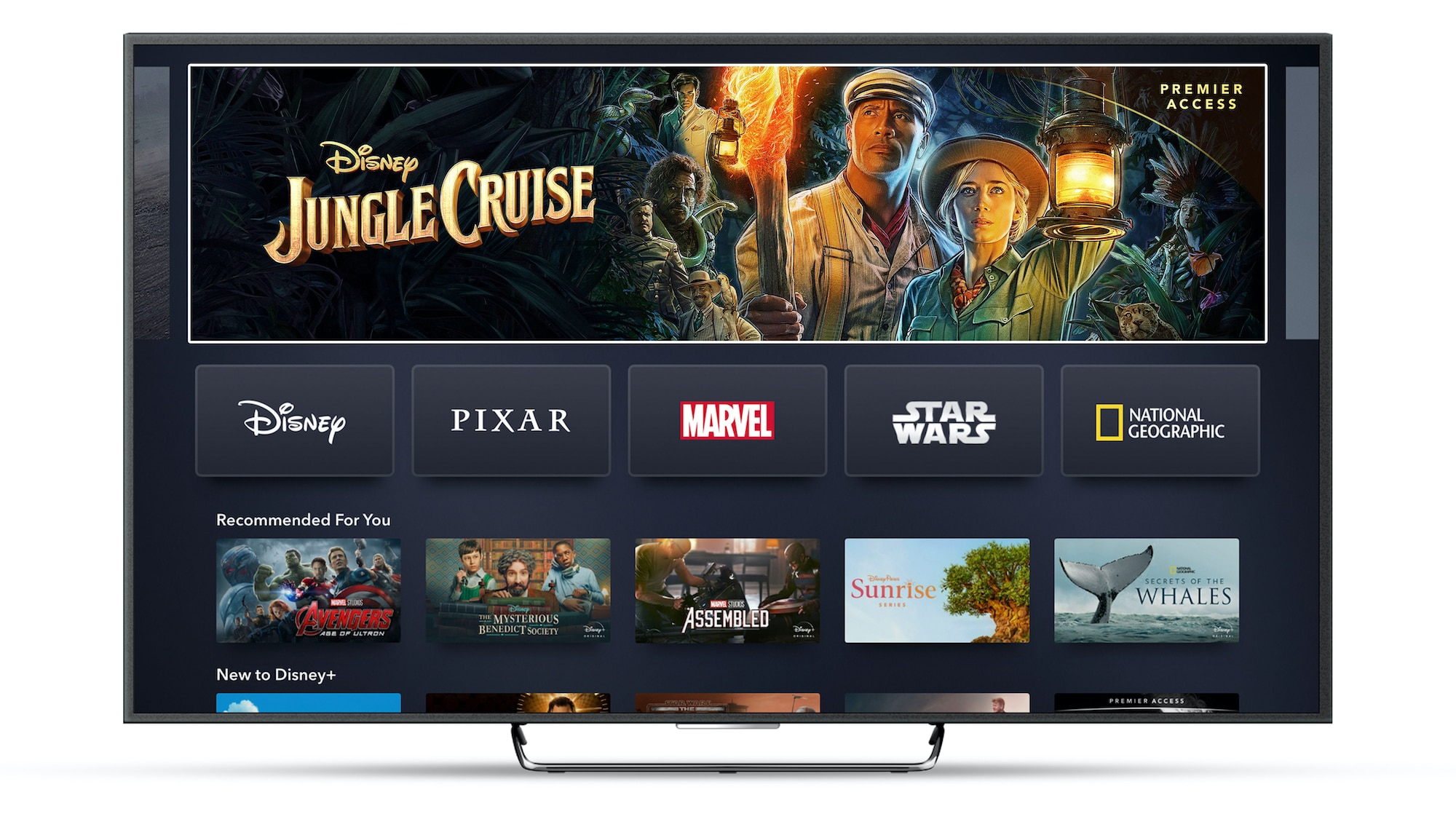 Disney+ App Home Page on Connected TV Device