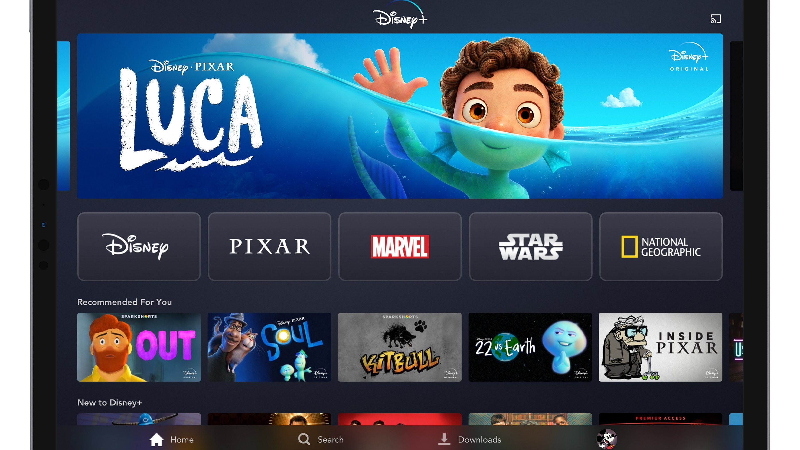 Disney+ App Home Page on Tablet Device