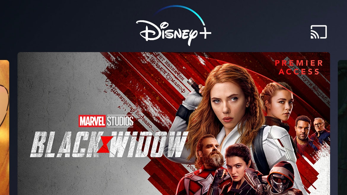 Disney+ App Home Page on Mobile