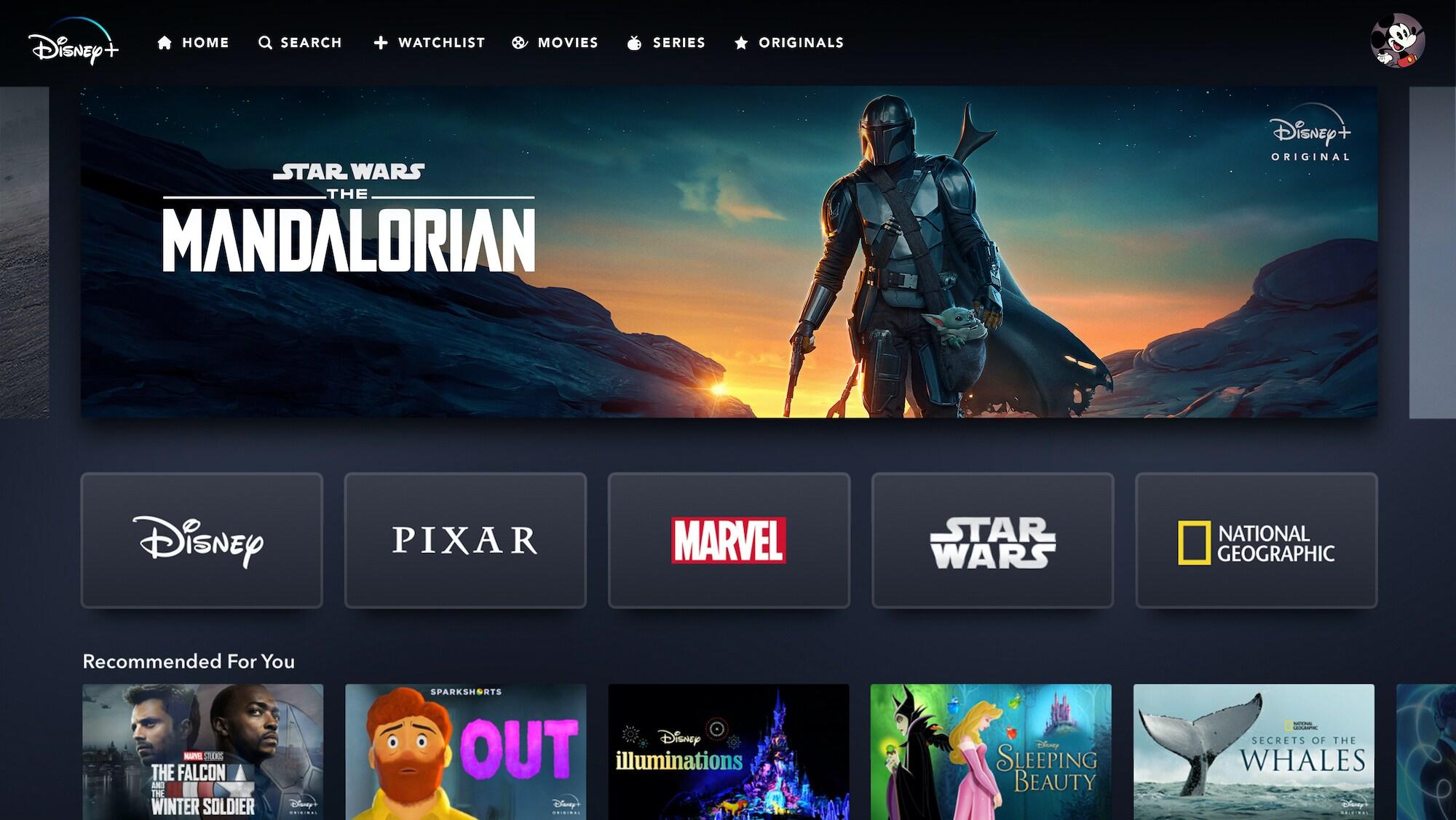 Disney+ App Home Page on Web